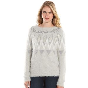 LC LAUREN CONRAD Sweater Gray Fair Isle Eyelash M